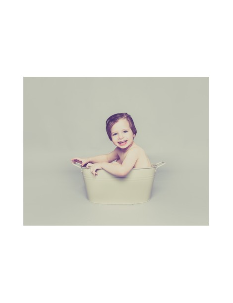 dark cream baby posing tin bath tub one photographic. Black Bedroom Furniture Sets. Home Design Ideas